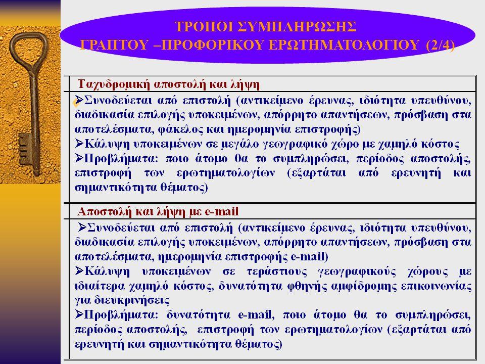 ΓΡΑΠΤΟΥ –ΠΡΟΦΟΡΙΚΟΥ ΕΡΩΤΗΜΑΤΟΛΟΓΙΟΥ (2/4)