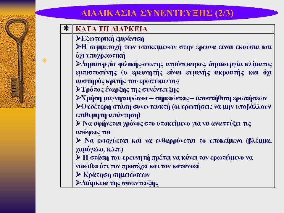 ΔΙΑΔΙΚΑΣΙΑ ΣΥΝΕΝΤΕΥΞΗΣ (2/3)