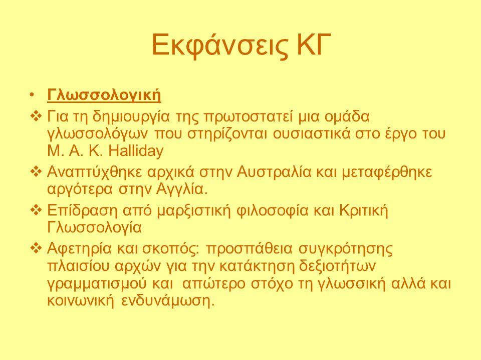 Εκφάνσεις ΚΓ Γλωσσολογική