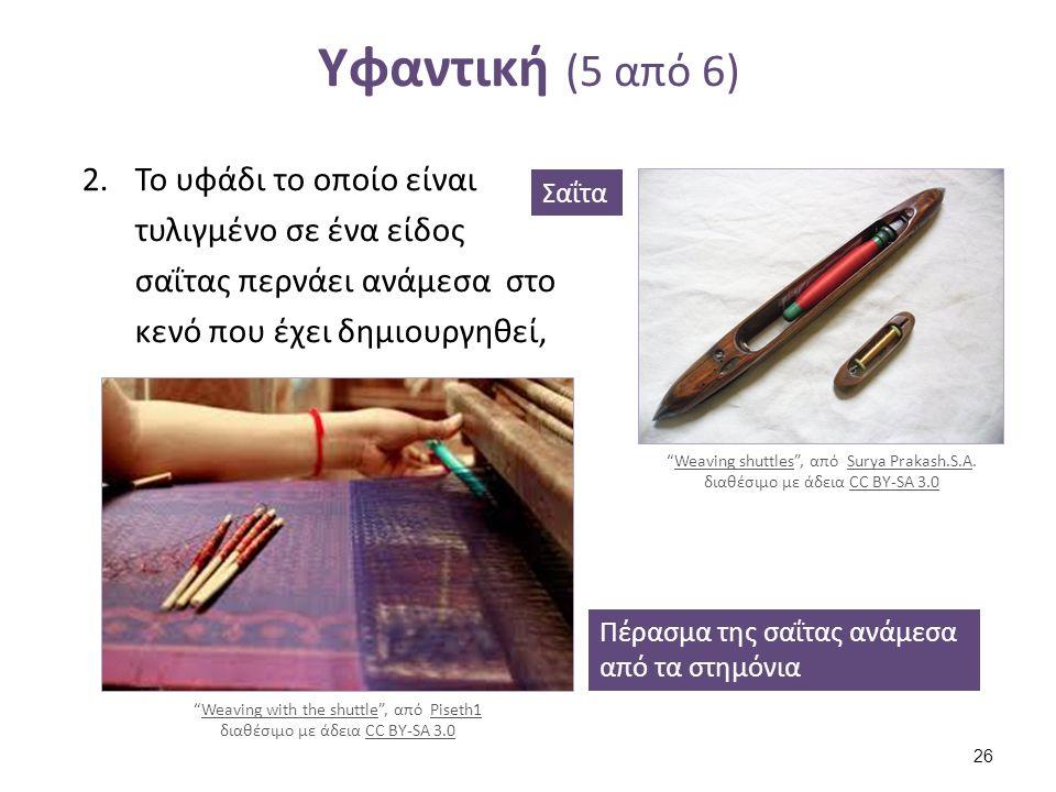 Υφαντική (6 από 6) Χτύπημα με το χτένι. Το υφάδι πιέζεται ή χτυπιέται με ένα είδος χτένας για να γίνει συμπαγές το ύφασμα.