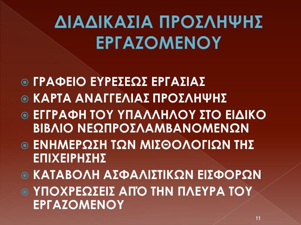 ΔΙΑΔΙΚΑΣΙΑ ΠΡΟΣΛΗΨΗΣ ΕΡΓΑΖΟΜΕΝΟΥ