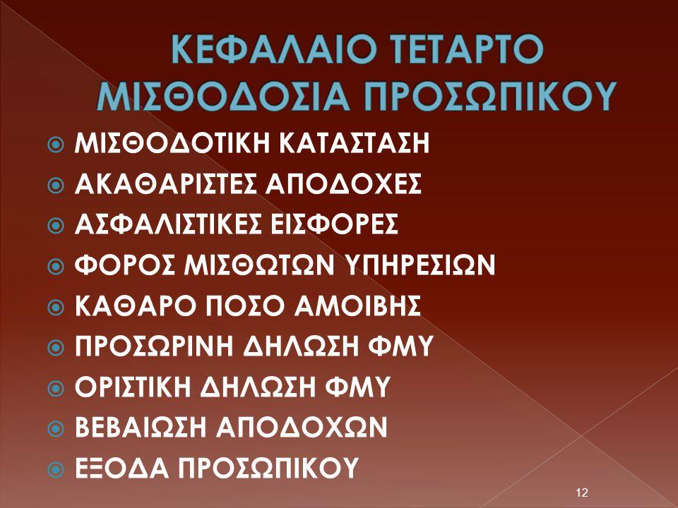 ΚΕΦΑΛΑΙΟ ΤΕΤΑΡΤΟ ΜΙΣΘΟΔΟΣΙΑ ΠΡΟΣΩΠΙΚΟΥ