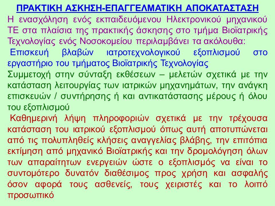 ΠΡΑΚΤΙΚΗ ΑΣΚΗΣΗ-ΕΠΑΓΓΕΛΜΑΤΙΚΗ ΑΠΟΚΑΤΑΣΤΑΣΗ