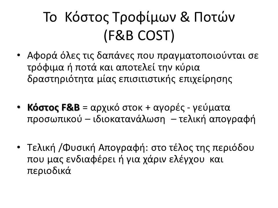 Το Κόστος Τροφίμων & Ποτών (F&B COST)