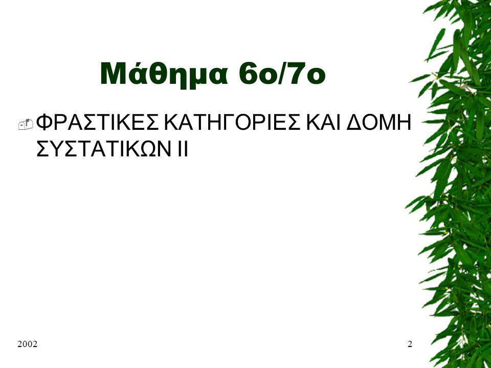 Μάθημα 6o/7ο ΦΡΑΣΤΙΚΕΣ ΚΑΤΗΓΟΡΙΕΣ ΚΑΙ ΔΟΜΗ ΣΥΣΤΑΤΙΚΩΝ II 2002