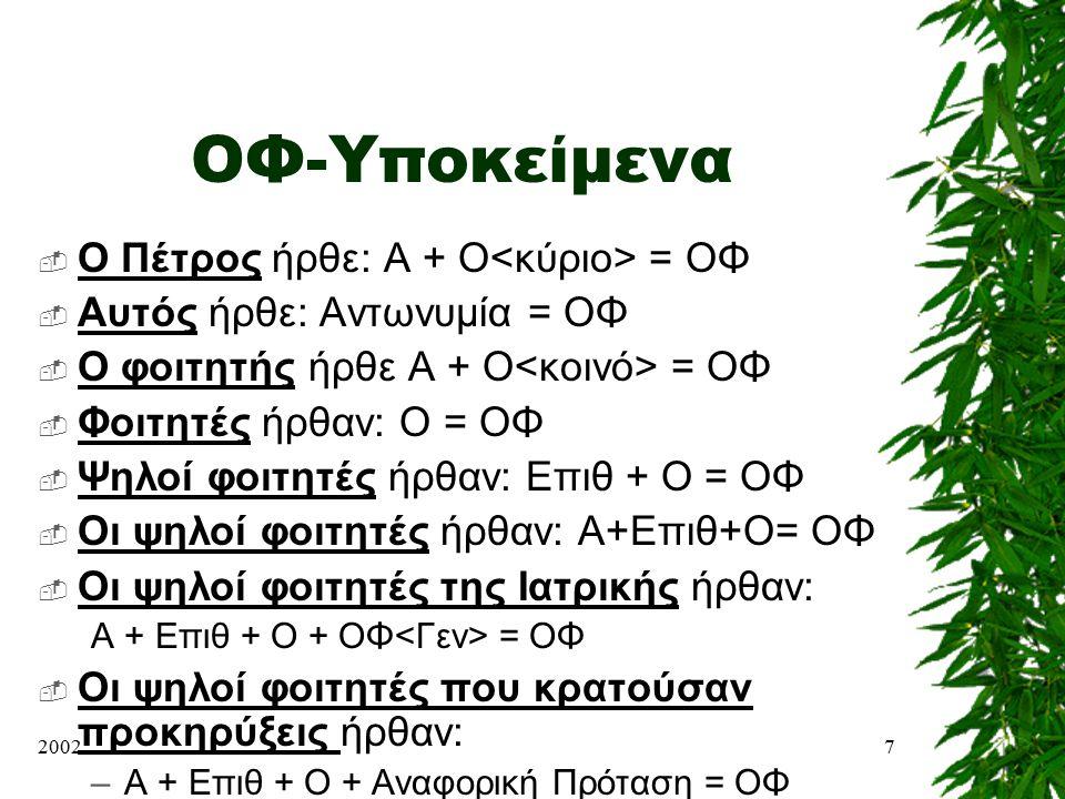 ΟΦ-Υποκείμενα Ο Πέτρος ήρθε: Α + Ο<κύριο> = ΟΦ