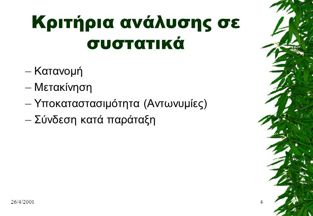 Κριτήρια ανάλυσης σε συστατικά