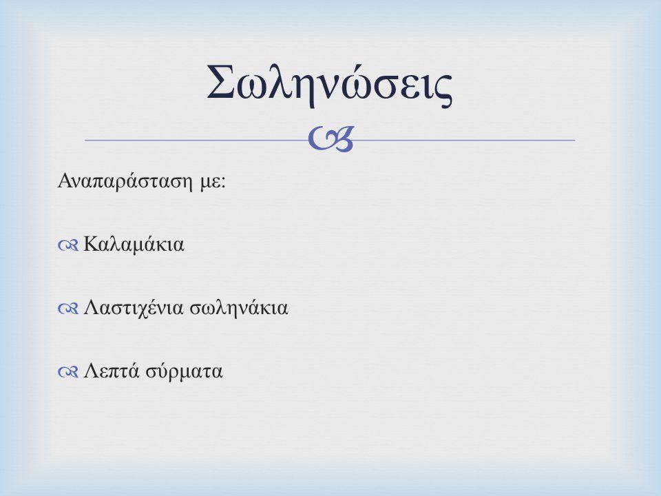 Σωληνώσεις Αναπαράσταση με: Καλαμάκια Λαστιχένια σωληνάκια
