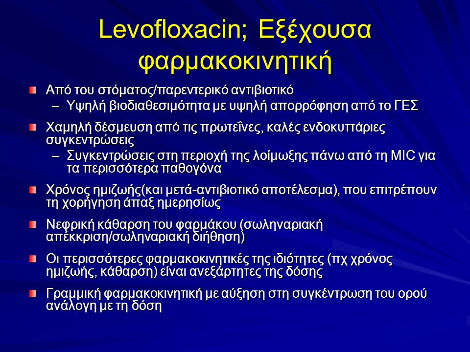 Levofloxacin; Εξέχουσα φαρμακοκινητική