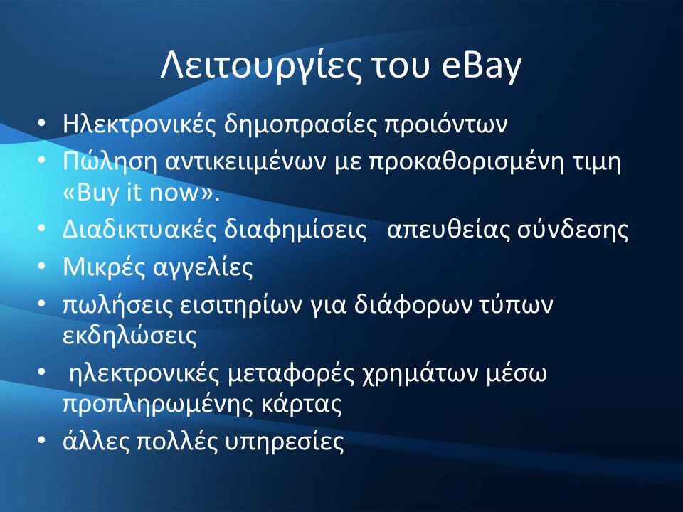 Λειτουργίες του eBay Ηλεκτρονικές δημοπρασίες προιόντων