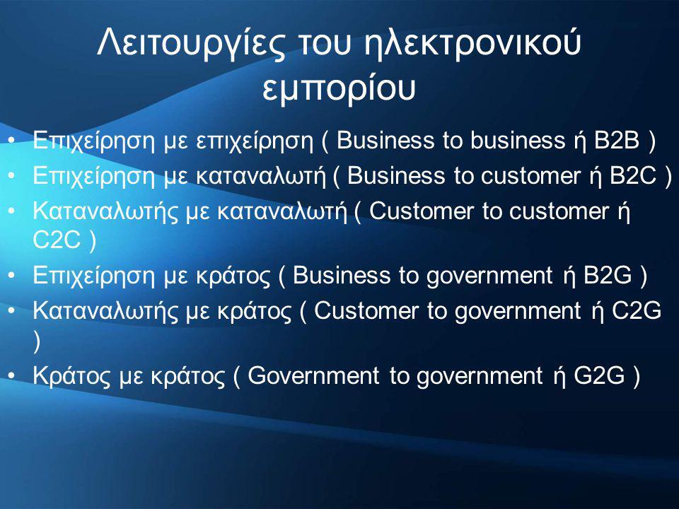 Λειτουργίες του ηλεκτρονικού εμπορίου