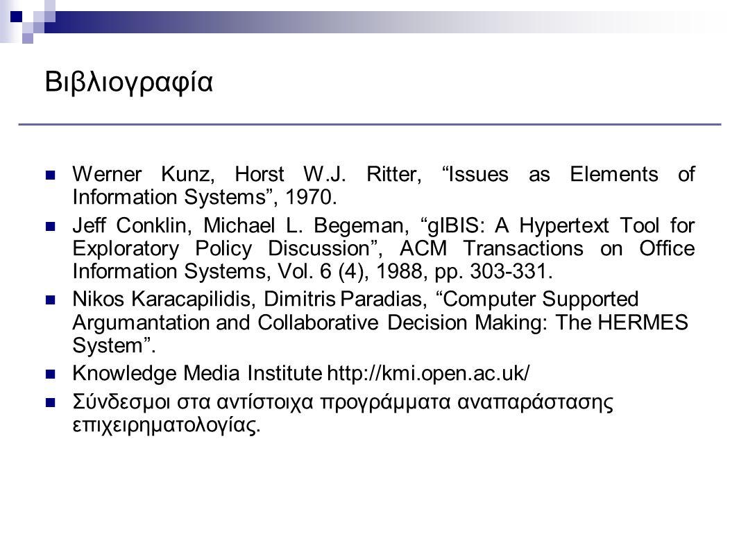 Βιβλιογραφία Werner Kunz, Horst W.J. Ritter, Issues as Elements of Information Systems , 1970.