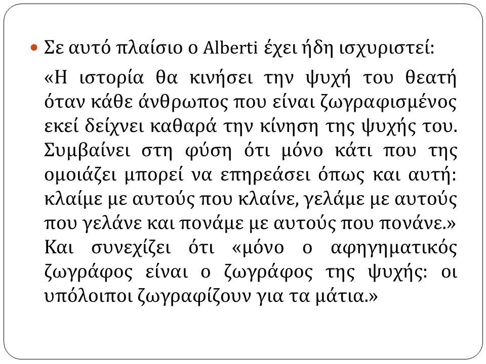 Σε αυτό πλαίσιο ο Alberti έχει ήδη ισχυριστεί:
