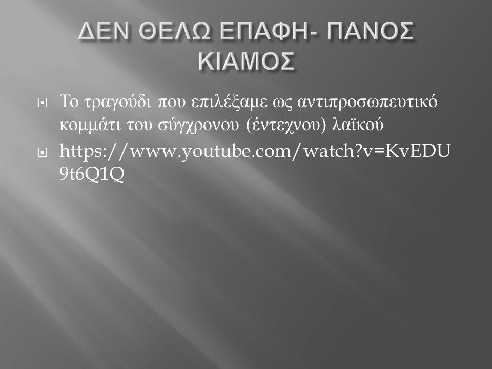ΔΕΝ ΘΕΛΩ ΕΠΑΦΗ- ΠΑΝΟΣ ΚΙΑΜΟΣ