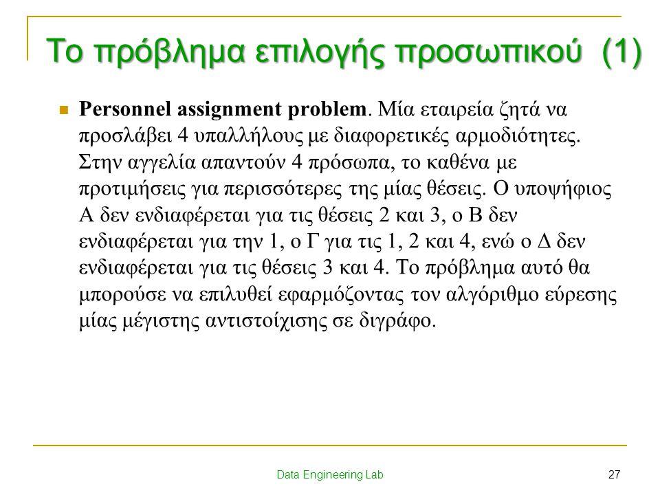 Το πρόβλημα επιλογής προσωπικού (1)