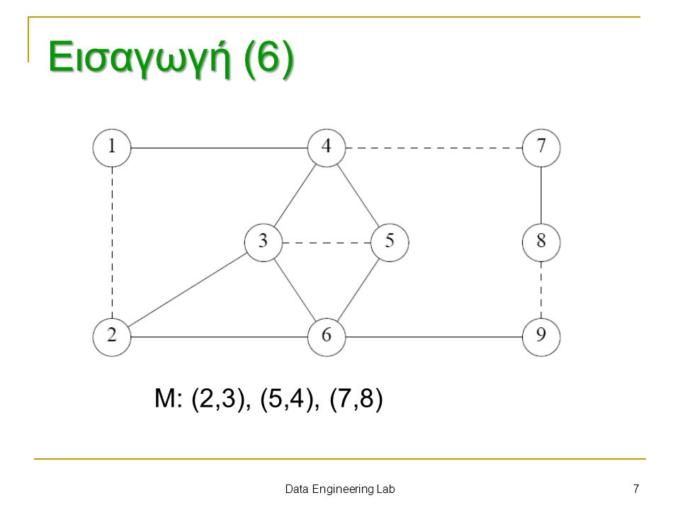 Εισαγωγή (6) Μ: (2,3), (5,4), (7,8) Data Engineering Lab