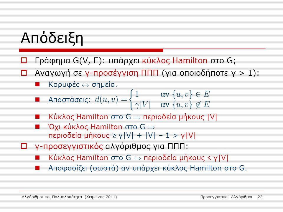 Απόδειξη Γράφημα G(V, E): υπάρχει κύκλος Hamilton στο G;