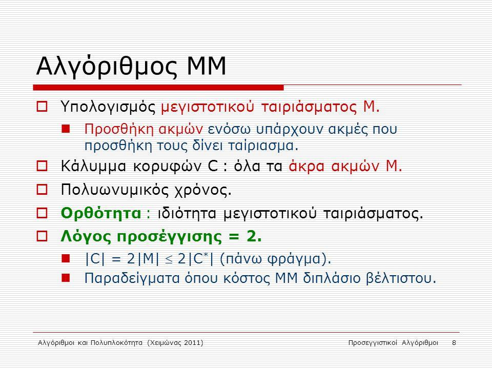 Αλγόριθμος ΜΜ Υπολογισμός μεγιστοτικού ταιριάσματος Μ.