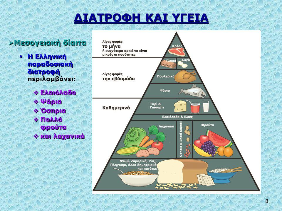 ΔΙΑΤΡΟΦΗ ΚΑΙ ΥΓΕΙΑ Μεσογειακή δίαιτα