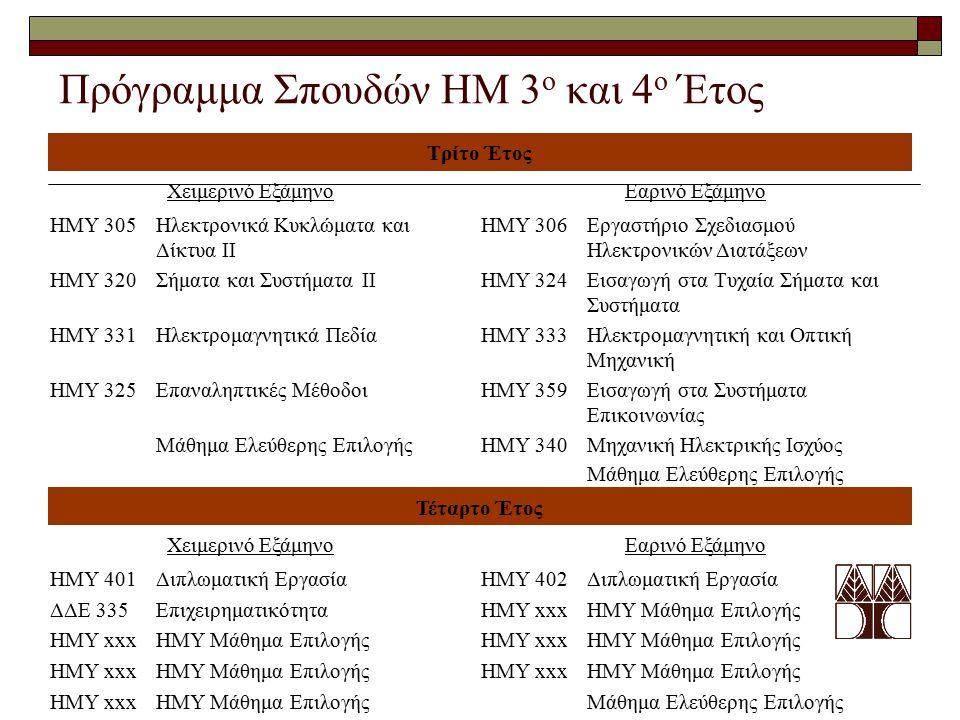 Πρόγραμμα Σπουδών ΗΜ 3ο και 4ο Έτος