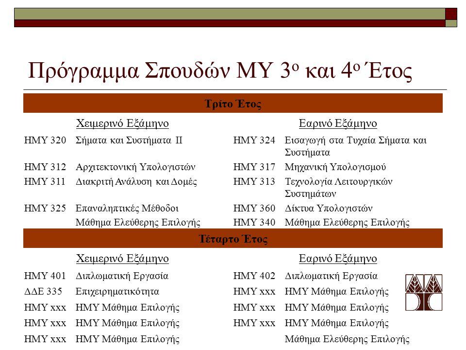 Πρόγραμμα Σπουδών ΜΥ 3ο και 4ο Έτος