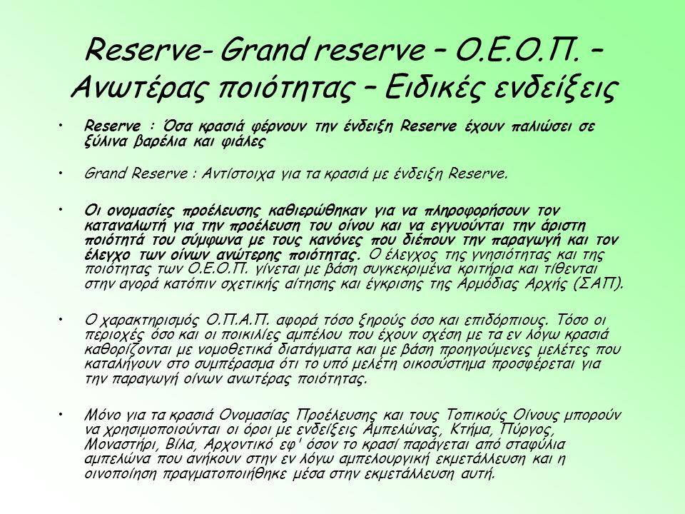 Reserve- Grand reserve – Ο. Ε. Ο. Π