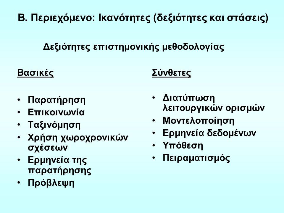 Β. Περιεχόμενο: Ικανότητες (δεξιότητες και στάσεις)