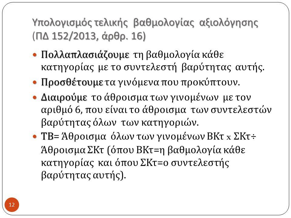 Υπολογισμός τελικής βαθμολογίας αξιολόγησης (ΠΔ 152/2013, άρθρ. 16)