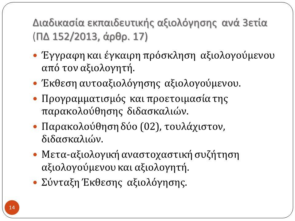Διαδικασία εκπαιδευτικής αξιολόγησης ανά 3ετία (ΠΔ 152/2013, άρθρ. 17)