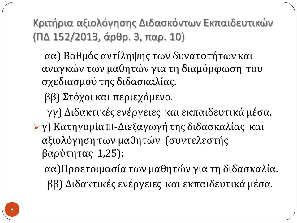 Κριτήρια αξιολόγησης Διδασκόντων Εκπαιδευτικών (ΠΔ 152/2013, άρθρ