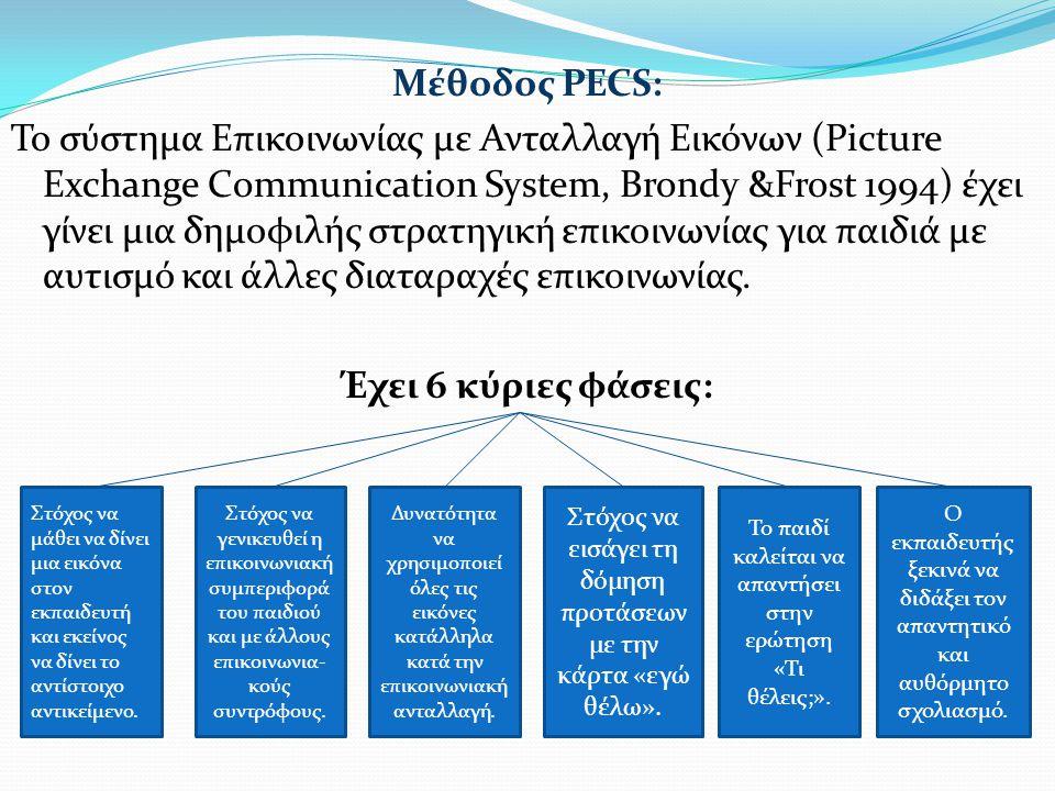Μέθοδος PECS: Το σύστημα Επικοινωνίας με Ανταλλαγή Εικόνων (Picture Exchange Communication System, Brondy &Frost 1994) έχει γίνει μια δημοφιλής στρατηγική επικοινωνίας για παιδιά με αυτισμό και άλλες διαταραχές επικοινωνίας. Έχει 6 κύριες φάσεις: