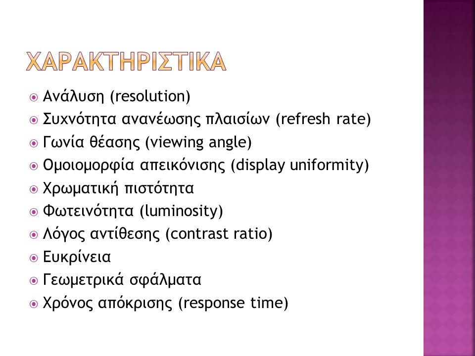 Χαρακτηριστικα Ανάλυση (resolution)
