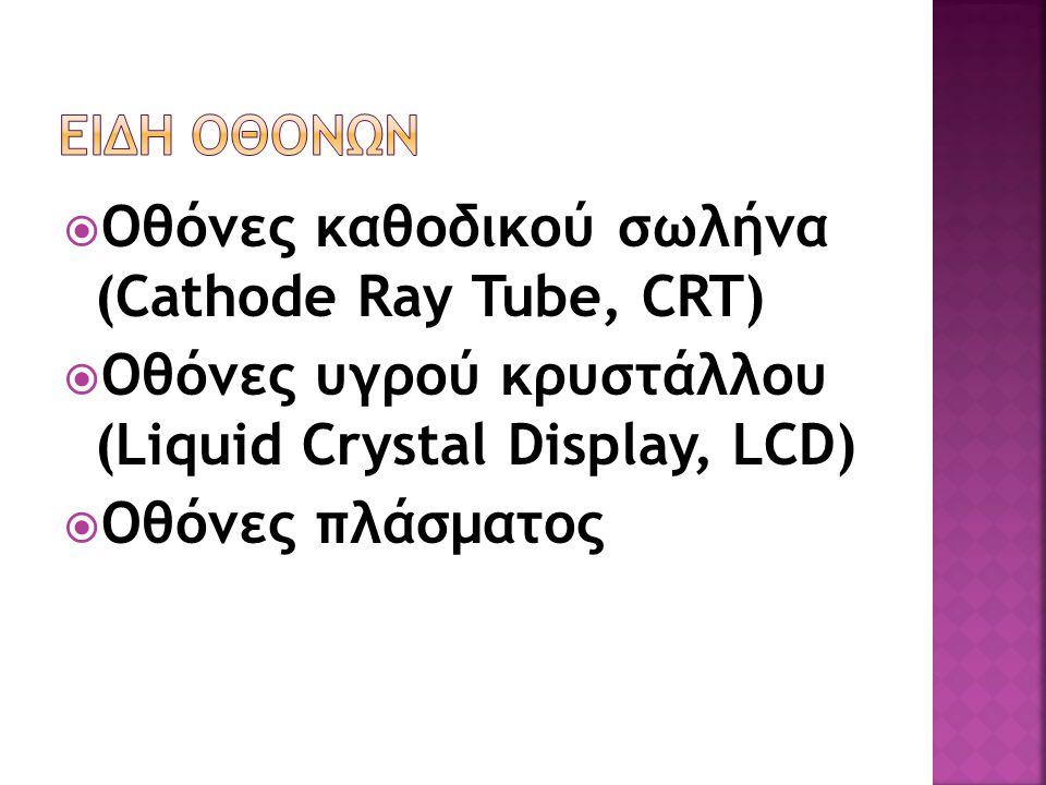 Οθόνες καθοδικού σωλήνα (Cathode Ray Tube, CRT)