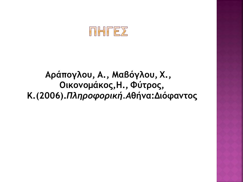 Πηγeσ Αράπογλου, Α., Μαβόγλου, Χ., Οικονομάκος,Η., Φύτρος, Κ.(2006).Πληροφορική.Αθήνα:Διόφαντος