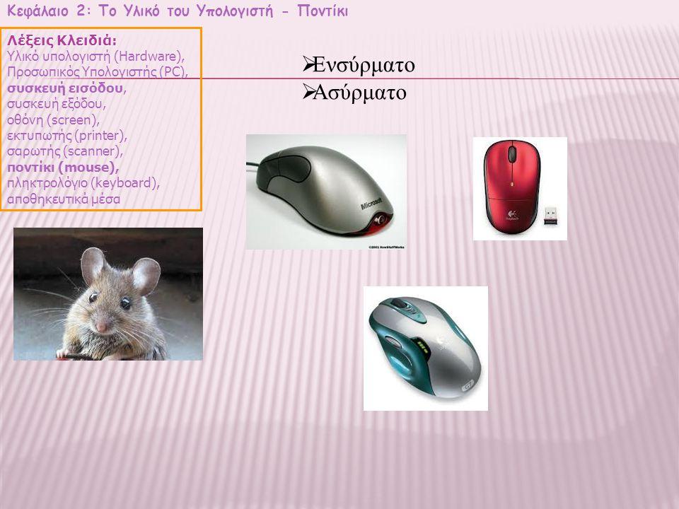 Ενσύρματο Ασύρματο Κεφάλαιο 2: Το Υλικό του Υπολογιστή - Ποντίκι