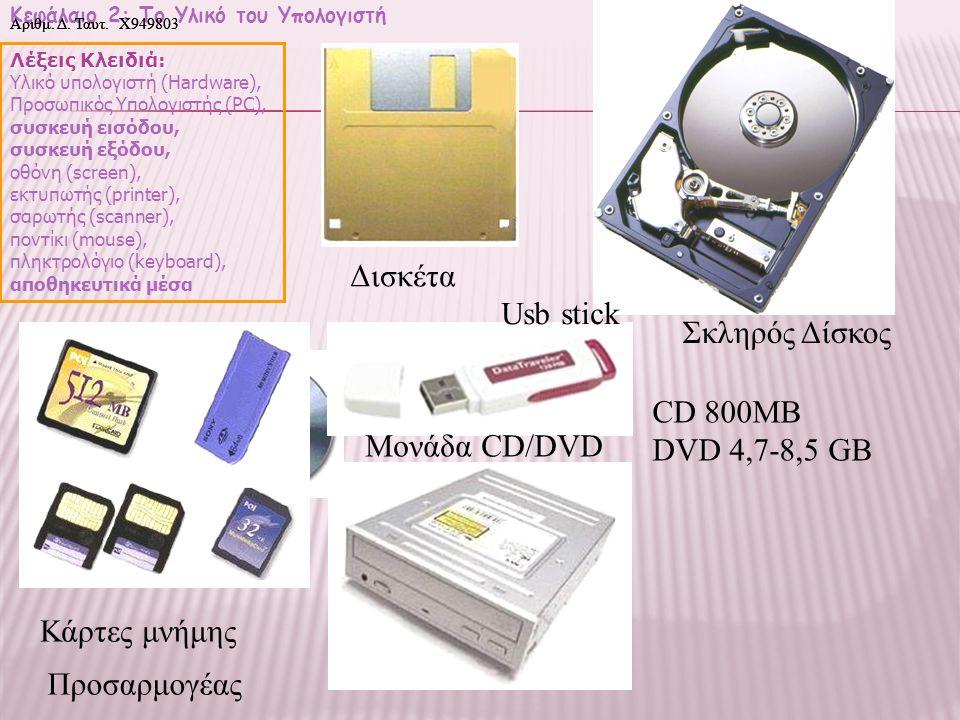 Δισκέτα Usb stick Σκληρός Δίσκος CD 800MB DVD 4,7-8,5 GB Μονάδα CD/DVD