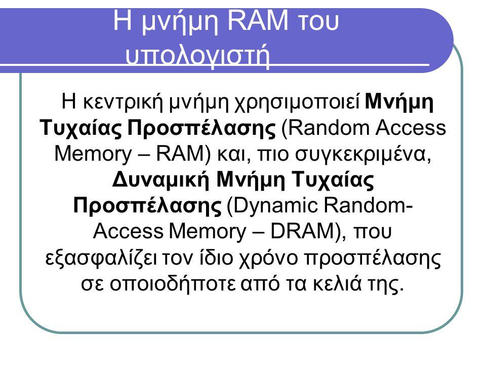 Η μνήμη RAM του υπολογιστή