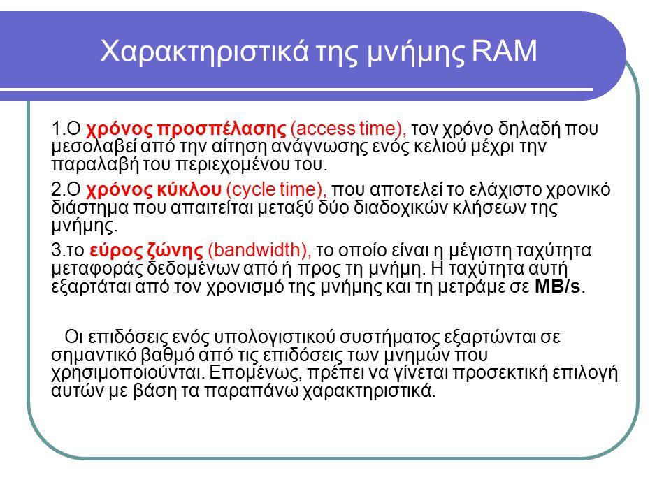 Χαρακτηριστικά της μνήμης RAM