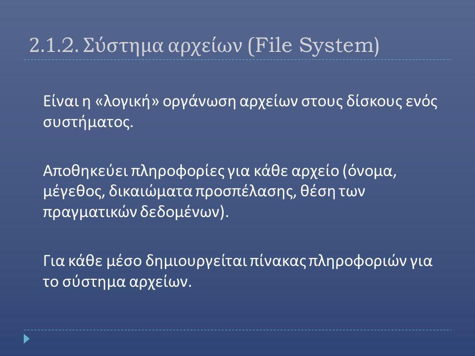 2.1.2. Σύστημα αρχείων (File System)