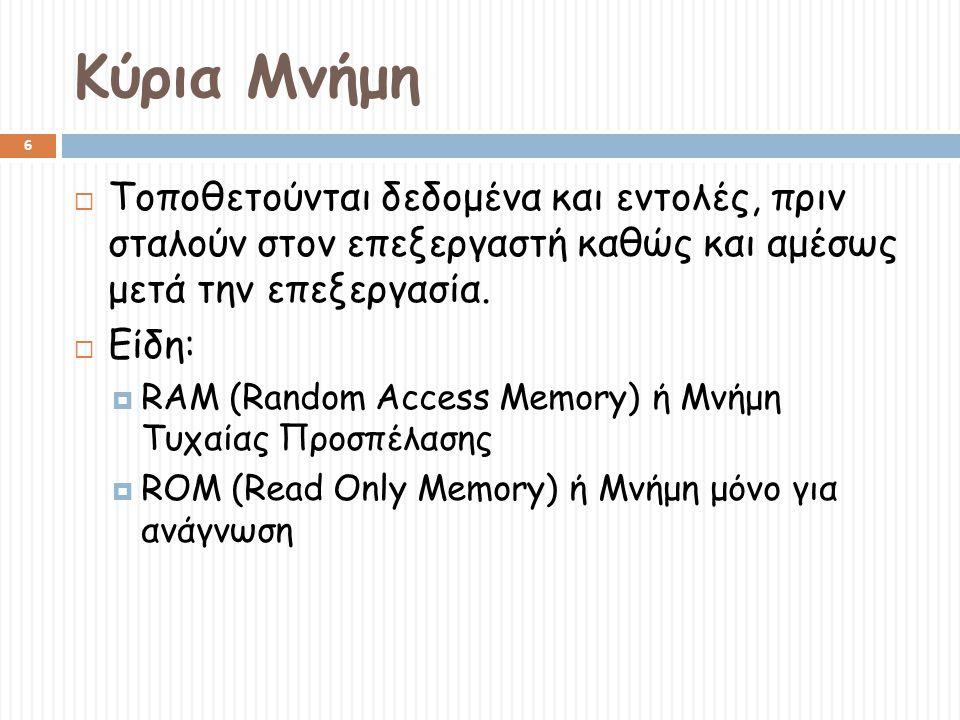 Κύρια Μνήμη Τοποθετούνται δεδομένα και εντολές, πριν σταλούν στον επεξεργαστή καθώς και αμέσως μετά την επεξεργασία.