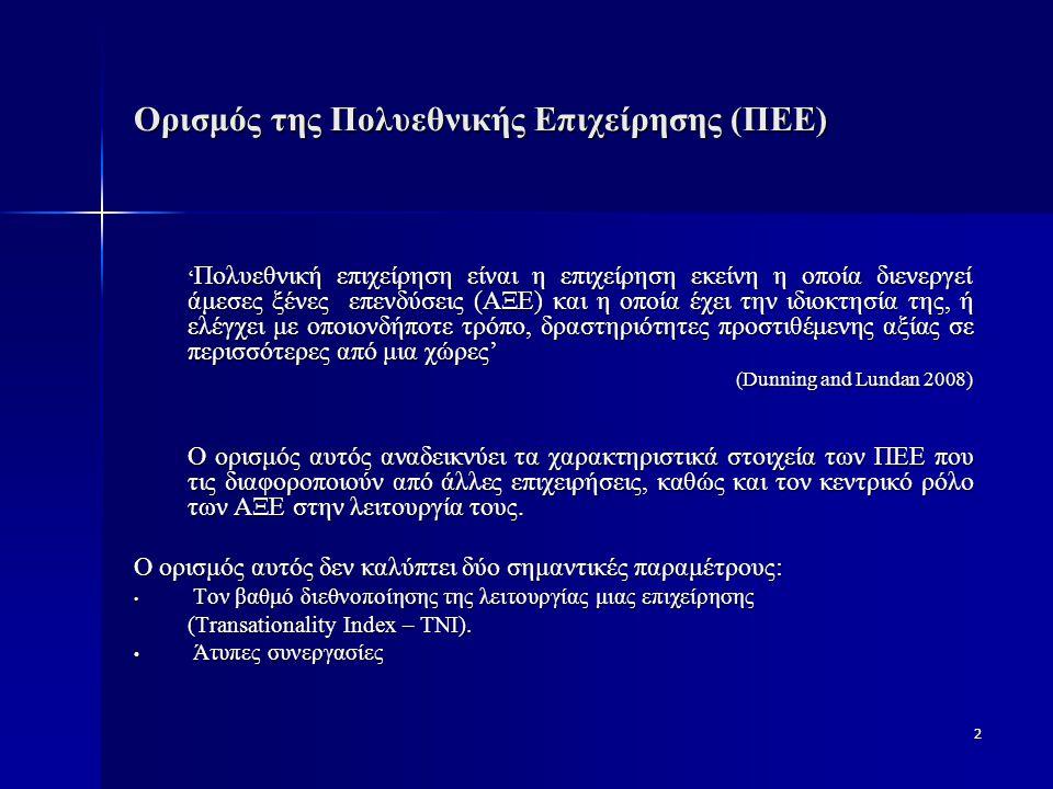 Ορισμός της Πολυεθνικής Επιχείρησης (ΠΕΕ)