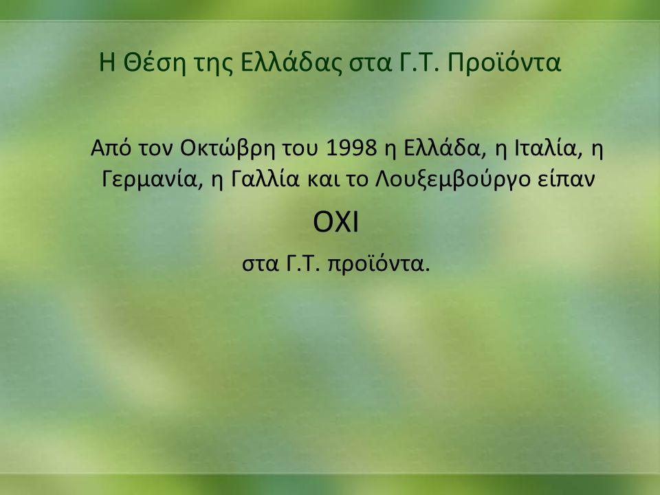 Η Θέση της Ελλάδας στα Γ.Τ. Προϊόντα