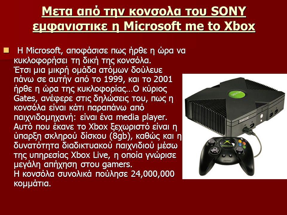 Μετα από την κονσολα του SONY εμφανιστικε η Microsoft me to Xbox