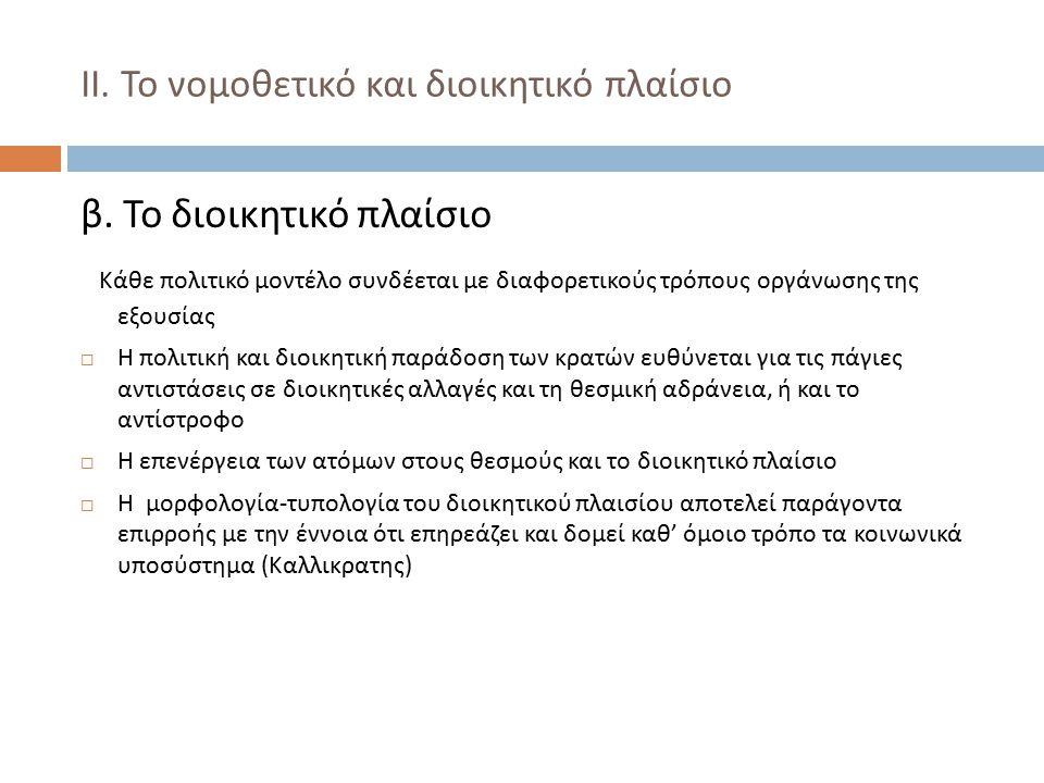 ΙΙ. Το νομοθετικό και διοικητικό πλαίσιο