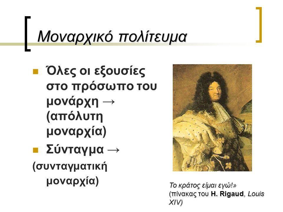 Μοναρχικό πολίτευμα Όλες οι εξουσίες στο πρόσωπο του μονάρχη → (απόλυτη μοναρχία) Σύνταγμα → (συνταγματική μοναρχία)