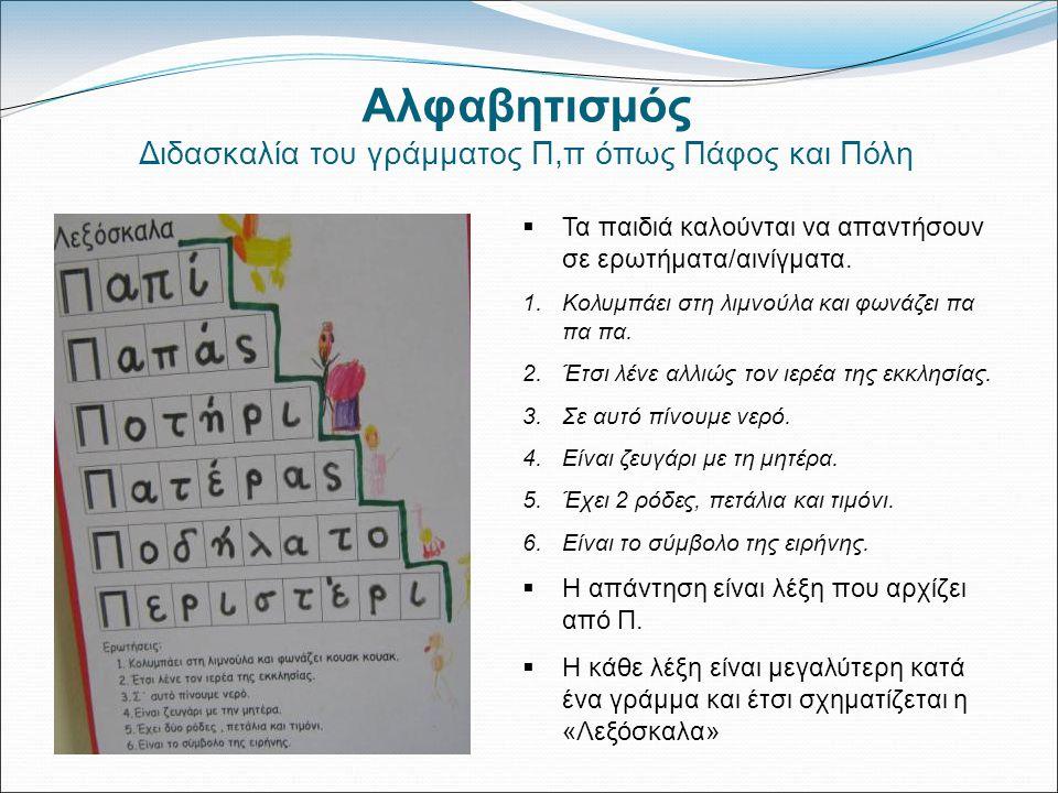 Διδασκαλία του γράμματος Π,π όπως Πάφος και Πόλη
