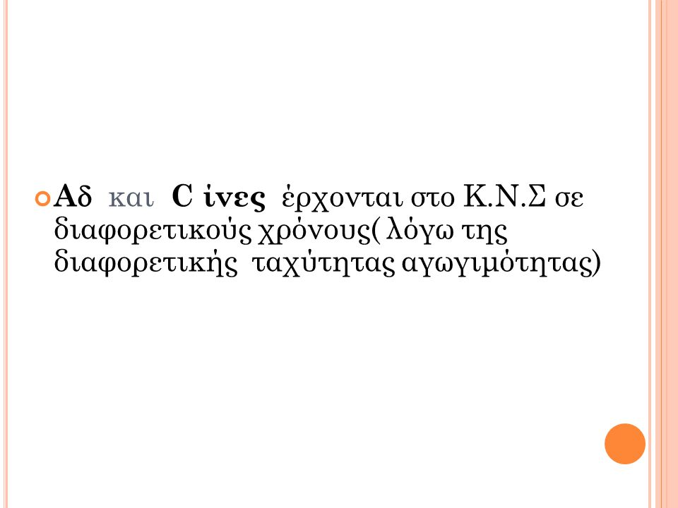 A και C ίνες έρχονται στο Κ. Ν