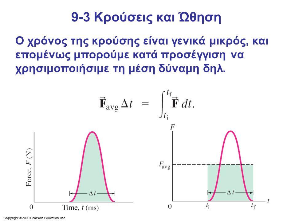 9-3 Κρούσεις και Ώθηση Ο χρόνος της κρούσης είναι γενικά μικρός, και επομένως μπορούμε κατά προσέγγιση να χρησιμοποιήσιμε τη μέση δύναμη δηλ.