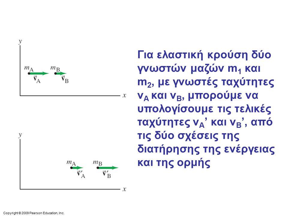 Για ελαστική κρούση δύο γνωστών μαζών m1 και m2, με γνωστές ταχύτητες vΑ και vB, μπορούμε να υπολογίσουμε τις τελικές ταχύτητες vΑ' και vB', από τις δύο σχέσεις της διατήρησης της ενέργειας και της ορμής
