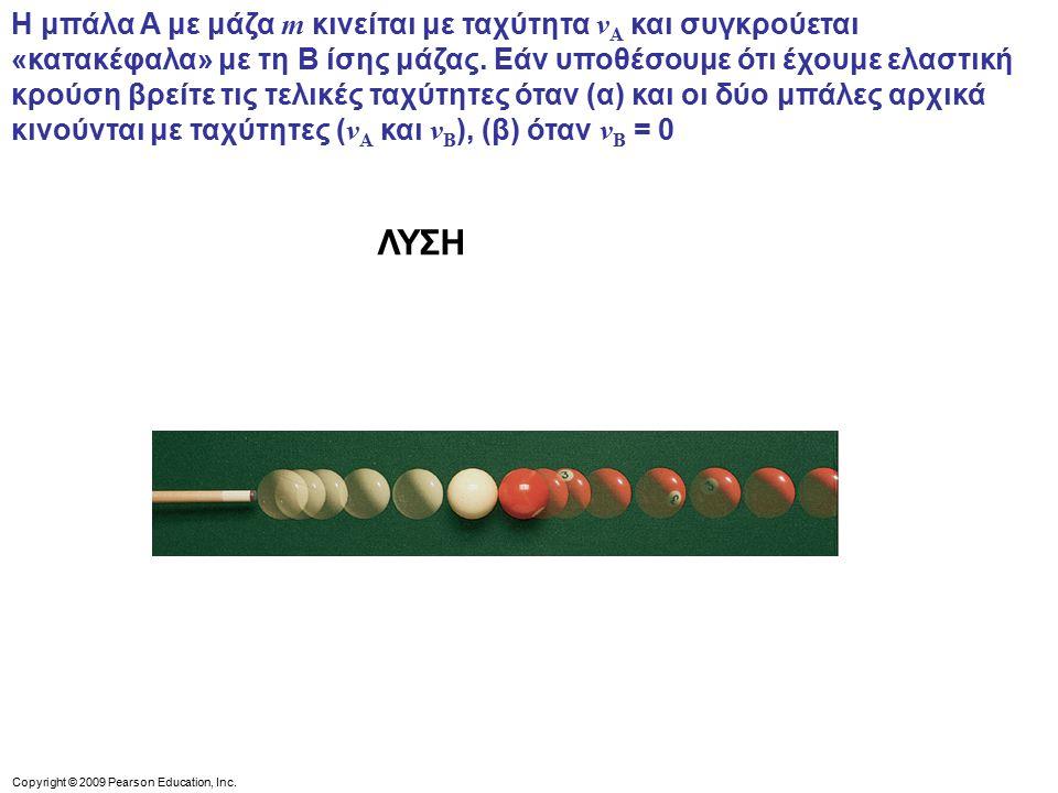 Η μπάλα A με μάζα m κινείται με ταχύτητα vA και συγκρούεται «κατακέφαλα» με τη B ίσης μάζας. Εάν υποθέσουμε ότι έχουμε ελαστική κρούση βρείτε τις τελικές ταχύτητες όταν (α) και οι δύο μπάλες αρχικά κινούνται με ταχύτητες (vA και vB), (β) όταν vB = 0